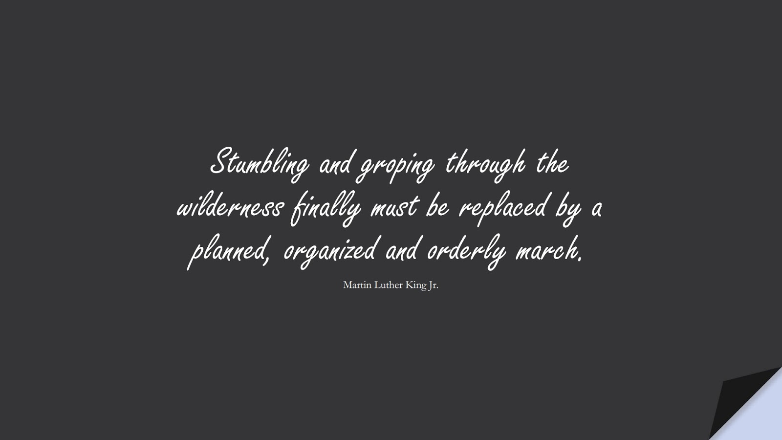 Stumbling and groping through the wilderness finally must be replaced by a planned, organized and orderly march. (Martin Luther King Jr.);  #MartinLutherKingJrQuotes