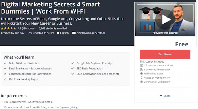 [100% Free] Digital Marketing Secrets 4 Smart Dummies | Work From Wi-Fi