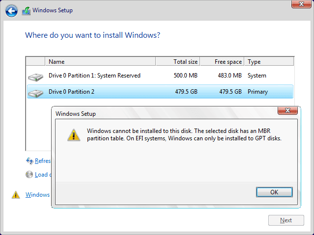 """"""" Window can't be installed in this disk. The selected disk has MBR partition table. On EFI systems, windows can only be installed to GPT disk."""""""
