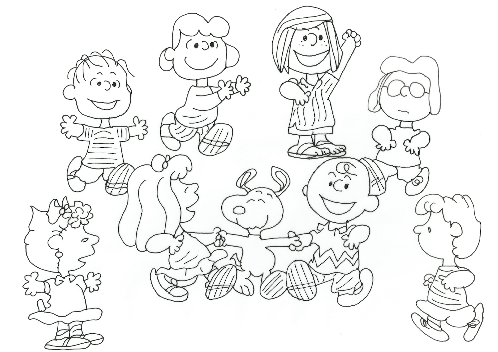 free coloring pages for april : Charlie Brown Whole Peanuts Gang Free Coloring Page
