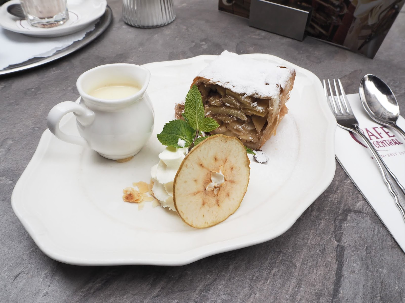 applestrudle served at cafe central vienna