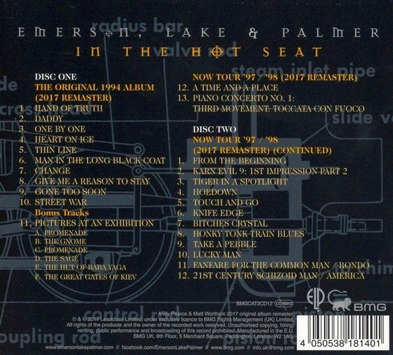EMERSON LAKE & PALMER - In The Hot Seat [Deluxe Edition remastered 2017] back
