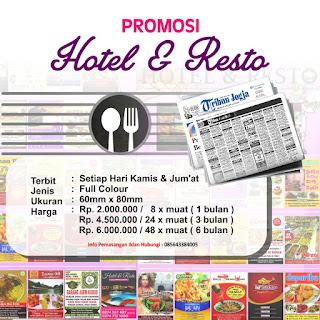 Promosi Hotel dan Resto di Koran Tribun Jogja