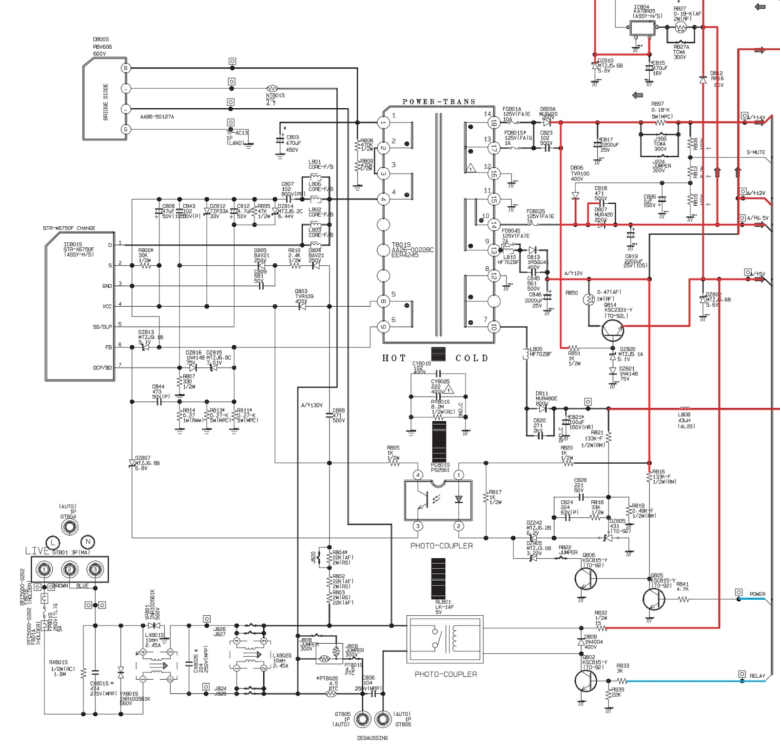 medium resolution of samsung cl29x50 power supply smps schematic circuit diagram str x6750f