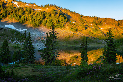 Early morning light on Lunch Lake in Seven Lakes Basin, Olympic National Park, Washington, USA.