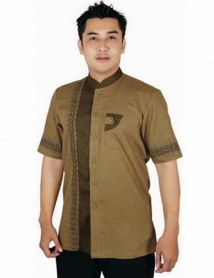 Desain baju batik muslim pria modern