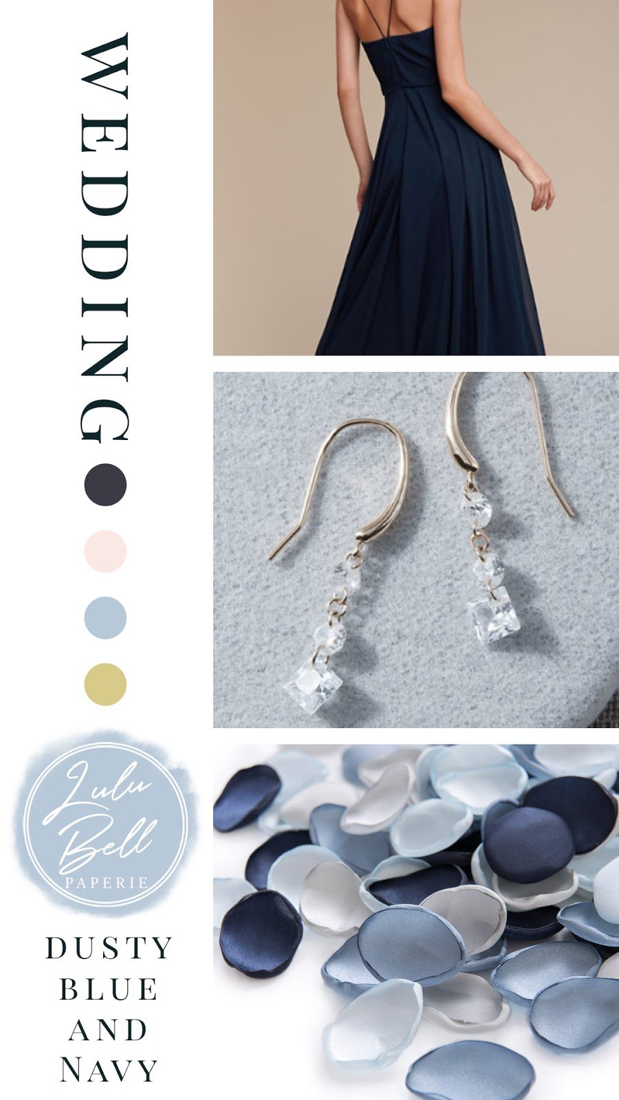 Dusty Blue, Blush Pink, and Navy Wedding Color Palette Inspiration