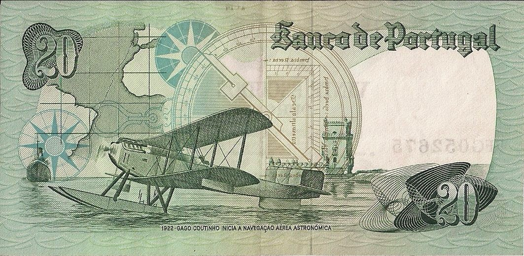 Portugal money currency 20 Escudos banknote 1978 Seaplane