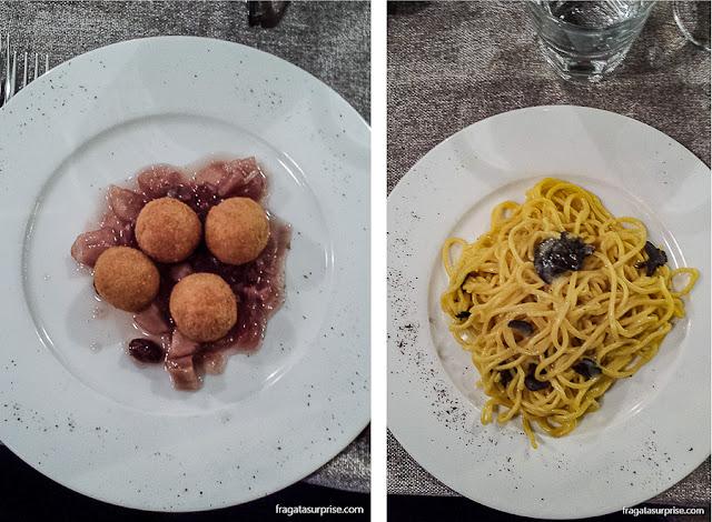Palline de pane e pasta com trufas, pratos romanos servidos no Restaurante Dar Sor Olimpio al Drago, no Trastevere, Roma