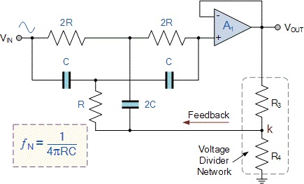 single Op-Amp Twin-T Notch filter circuit