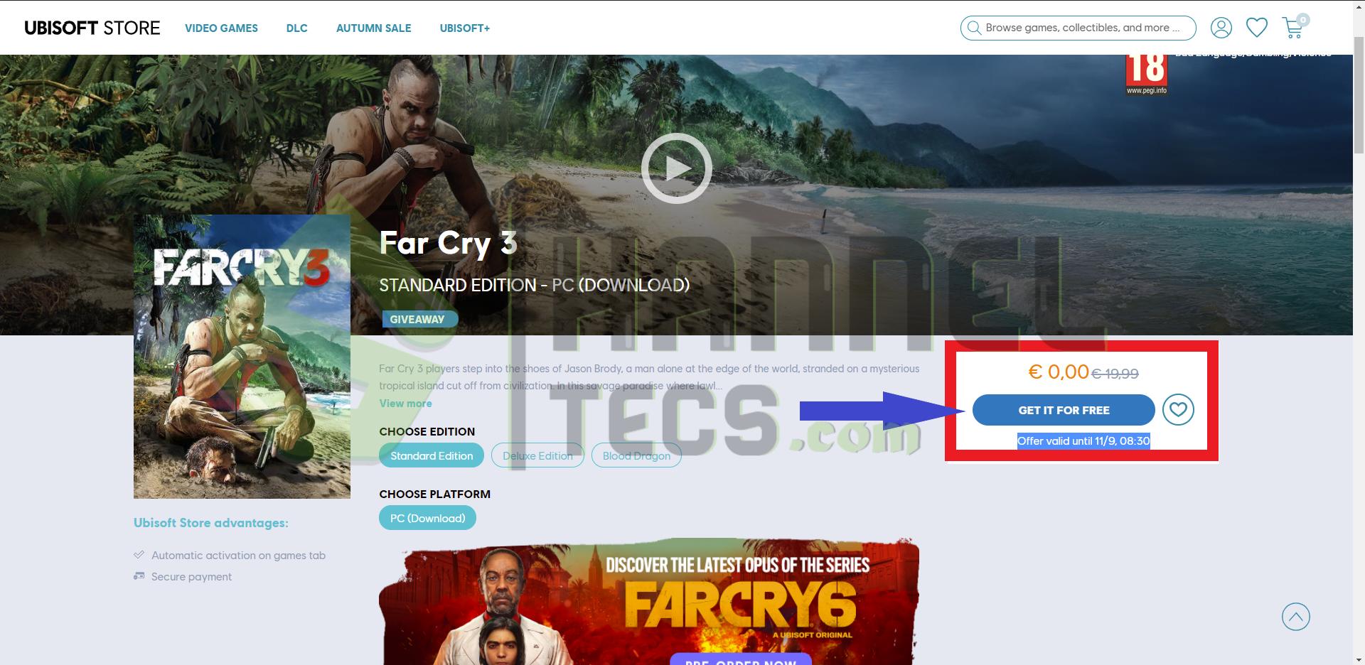 حصريًا لعبة  Far Cry 3 مجانًا !! مدي الحياه