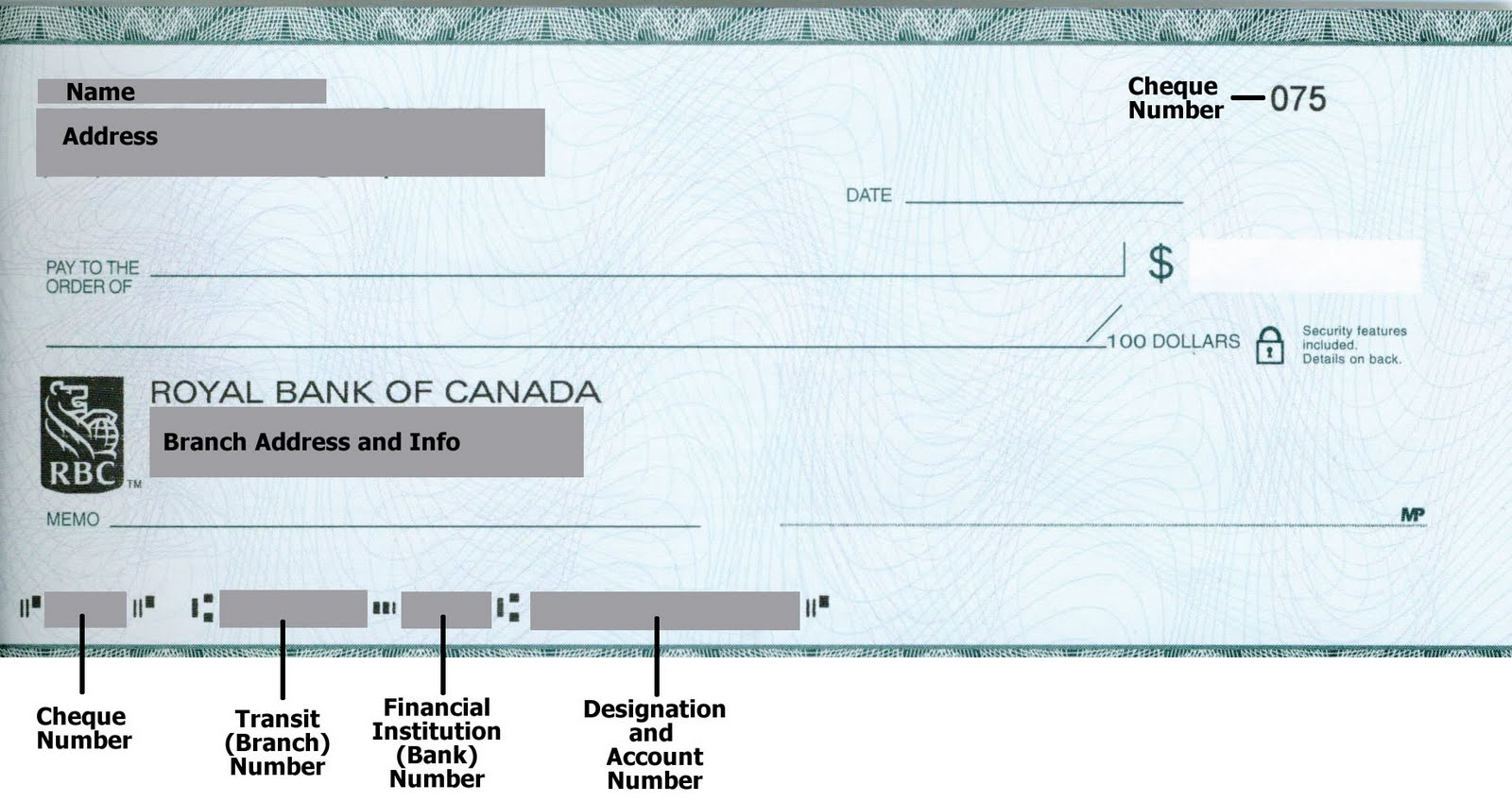write address on back of cheque definition