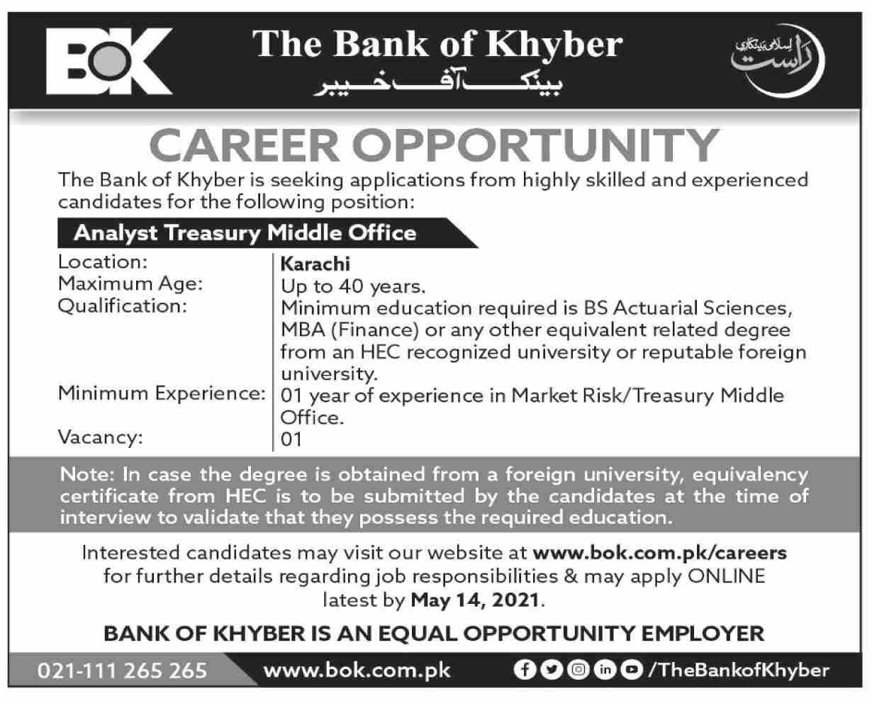 www.bok.com.pk/careers - Bank of Khyber (BOK) Jobs 2021 in Pakistan