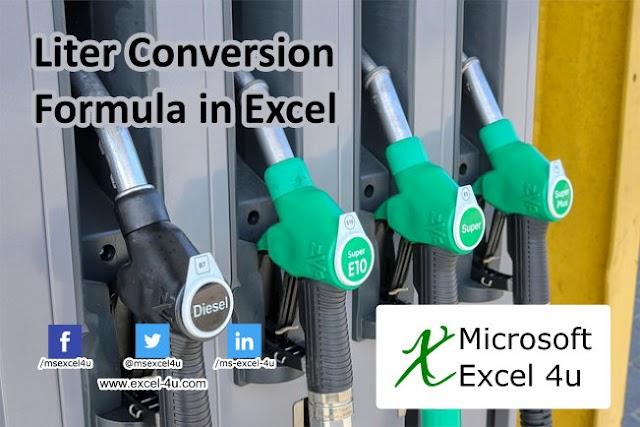 Liter Conversion Formula in Excel