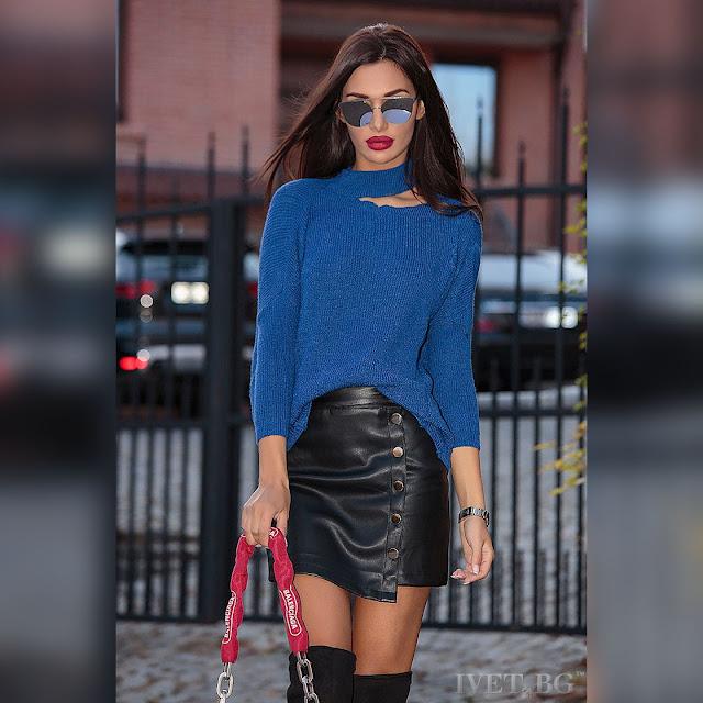 Μακρυμάνικο γυναικείο μπλε πουλόβερ SIMEONA BLUE