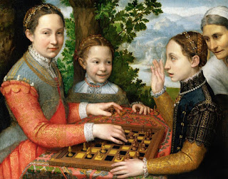 Anguissola's most famous painting was of her three sisters, Lucia, Minerva and Europa, playing chess
