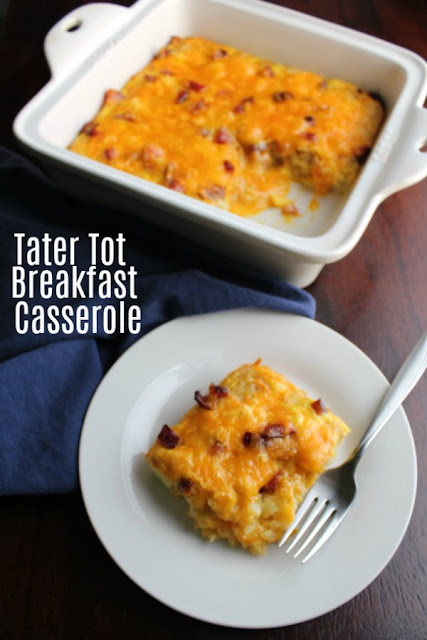 This easy breakfast casserole is made quickly with the help of tater tots. The eggs, cheese and ham or bacon round it out for a delicious and filling start to your day.