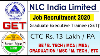NLC Graduate Trainee Various Post Online Form 2020