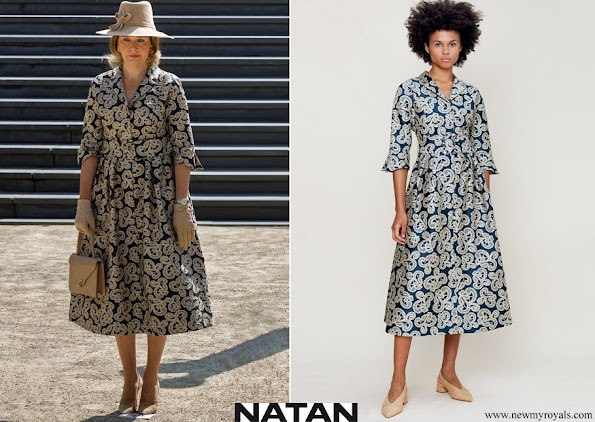 Queen Mathilde wore Natan Monki midi dress in jacquard with embroidery motif
