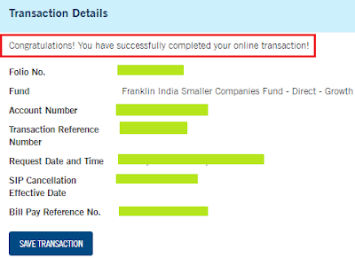 Franklin Mutual Fund - Cancel SIP
