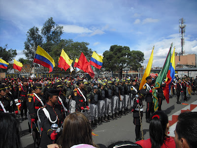 Uniformed personnel engaged in military celebrations commemorating Colombia's independence