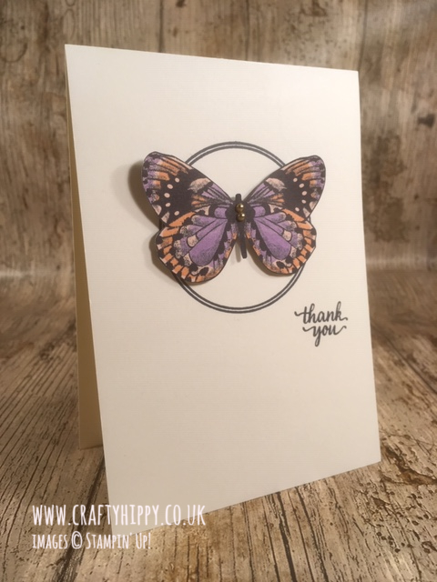 Simple handmade butterfly card created with the Botanical Butterfly Designer Series Paper by Stampin' Up!