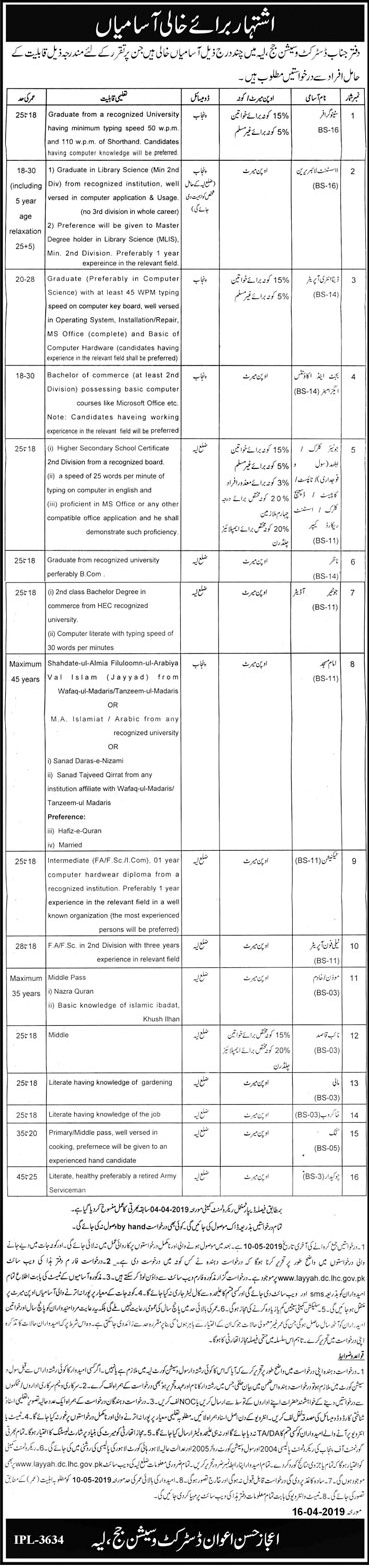 District and Session Judge Layyah Latest Jobs 2019