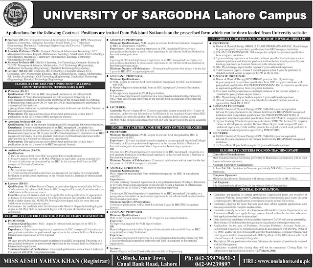 Teaching Faculty Jobs in University of Sargodha Lahore Campus