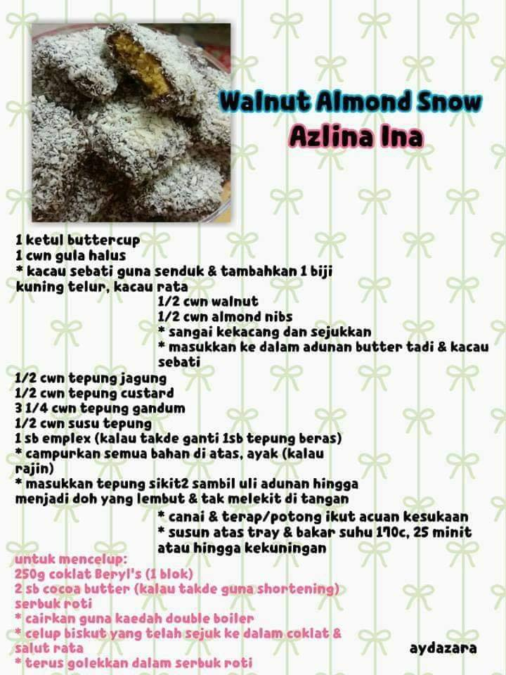 resepi walnut almond snow