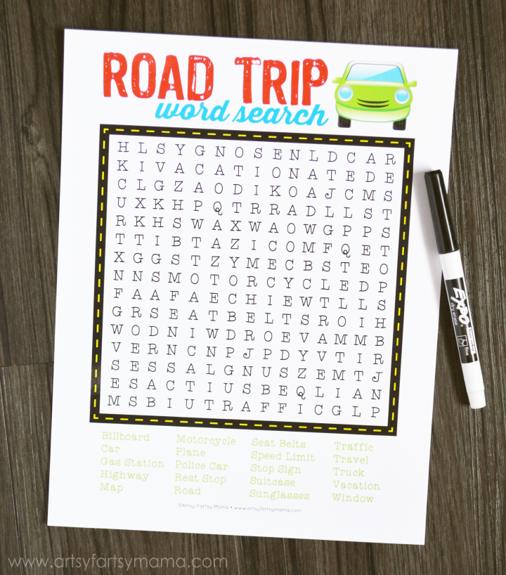 Free Printable Road Trip Word Search at artsyfartsymama.com