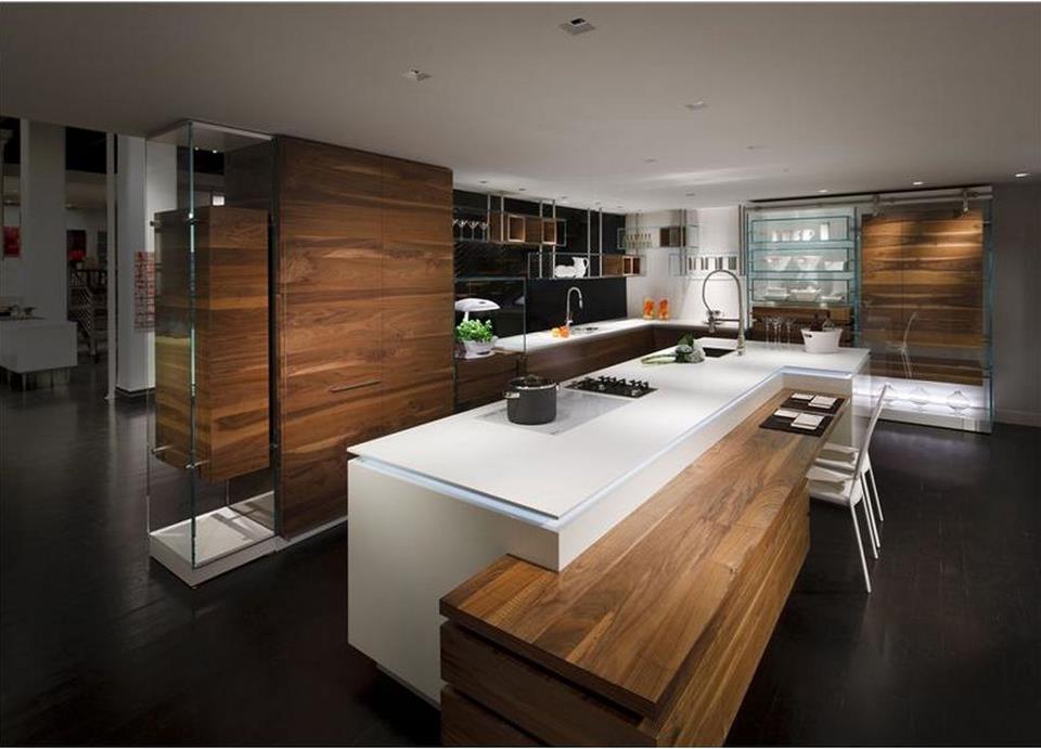 cuisine bois et blanc cuisine blanc et bois design - Cuisine Noir Et Blanc Et Bois