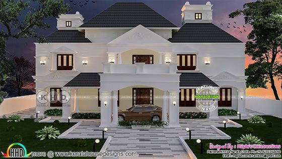 6 bedroom Colonial model house plan 343 Sq-M