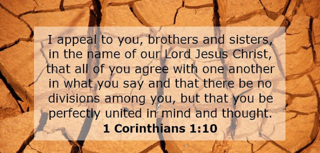 I appeal to you, brothers and sisters, in the name of our Lord Jesus Christ, that all of you agree with one another in what you say and that there be no divisions among you, but that you be perfectly united in mind and thought.