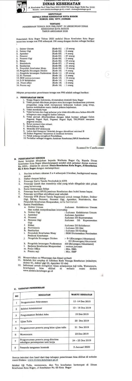Rekrutmen Non PNS Dinas Kesehatan (Dinkes) Tingkat SMP SMA D3 S1 Tahun Anggaran 2020