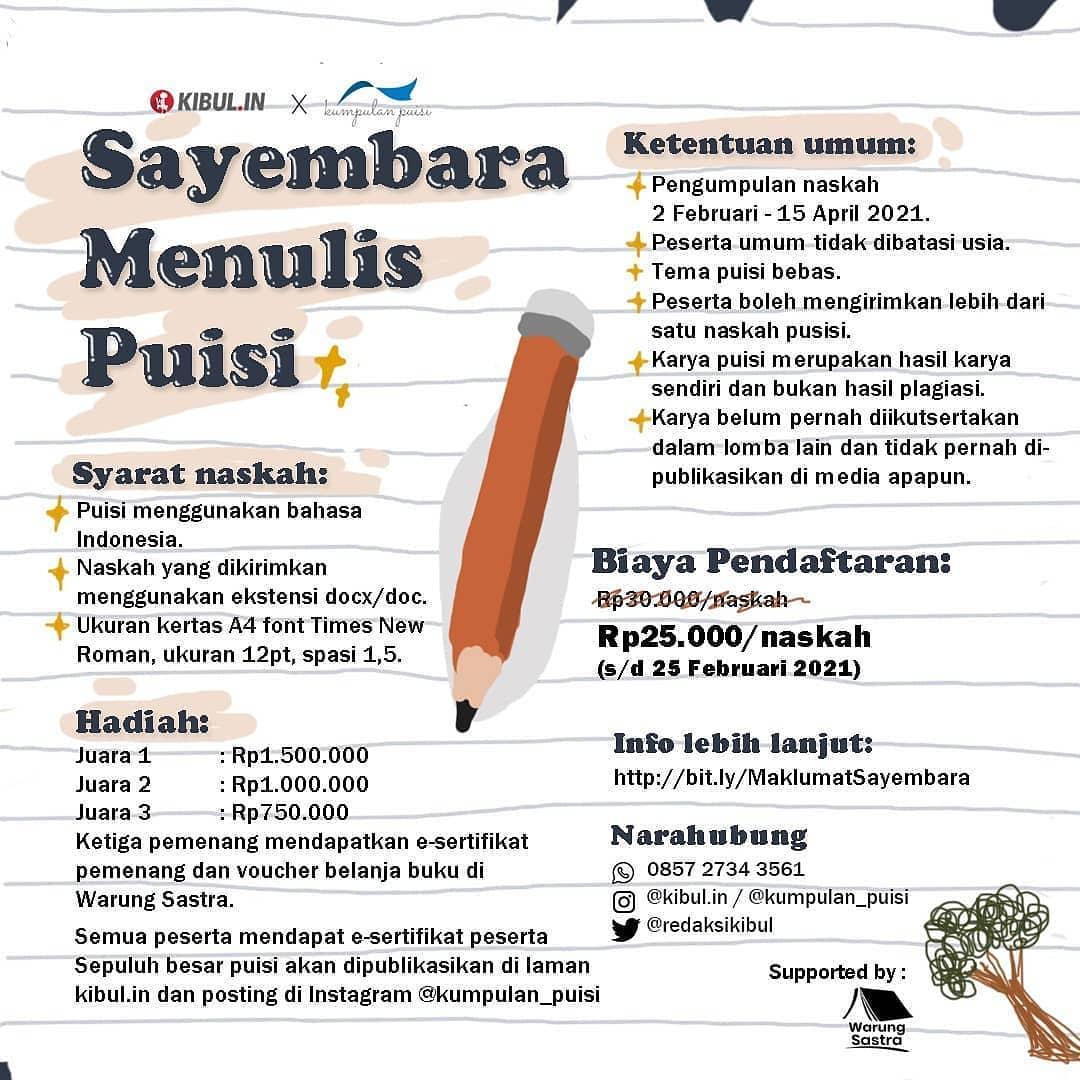 Lomba Menulis Puisi Berhadiah Uang Tunai Jutaan Rupiah oleh Kibul.in dan Kumpulan Puisi