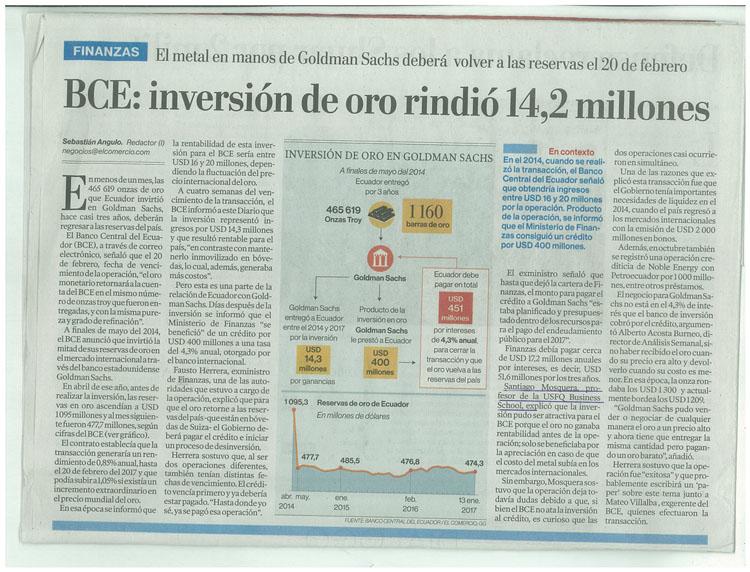 BCE: inversión de oro rindió 14,2 millones