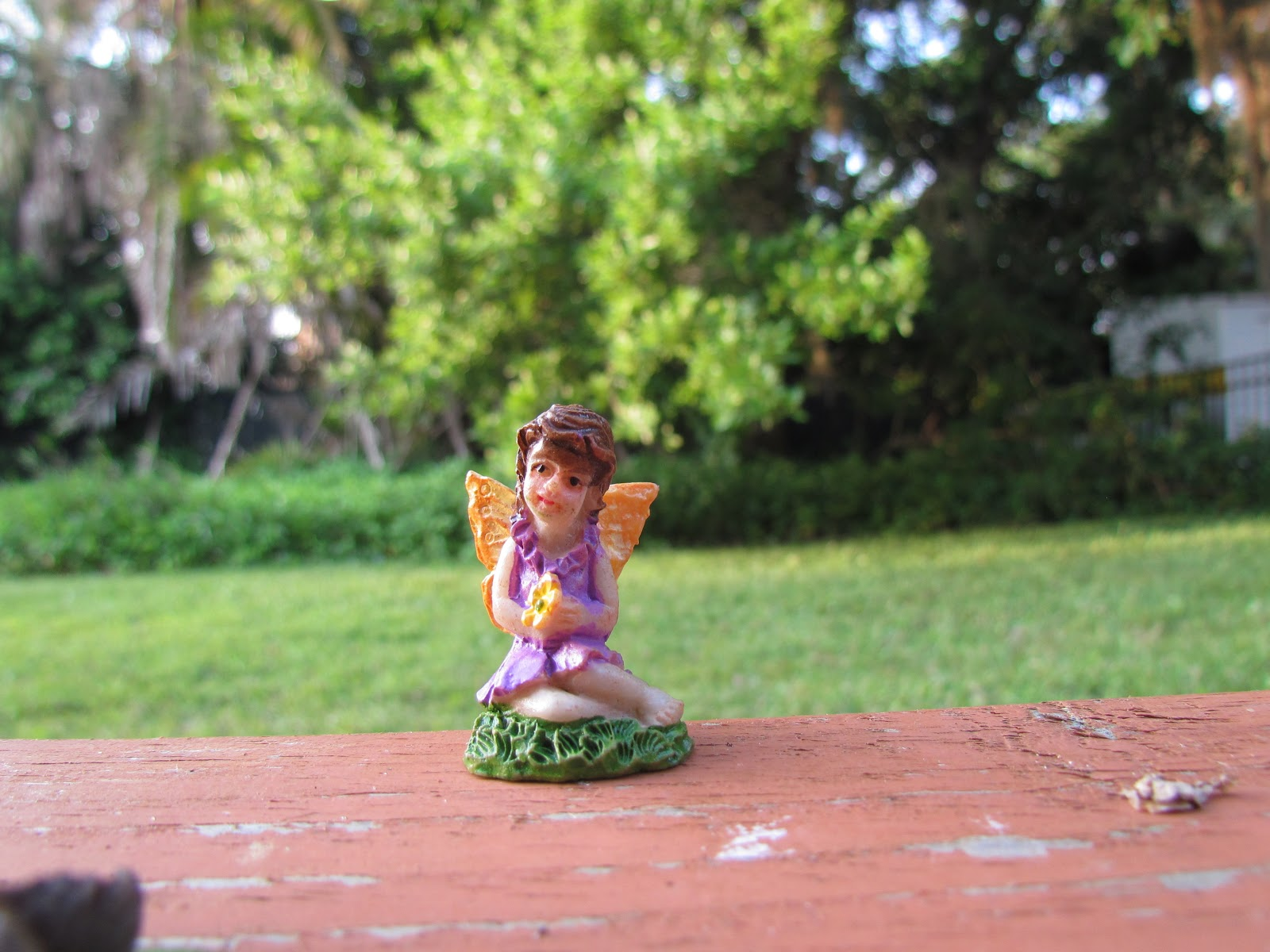 A Tiny Woodland Fairy Nymph in Purple Dress on Backyard Porch in the Backyard Garden of Nature