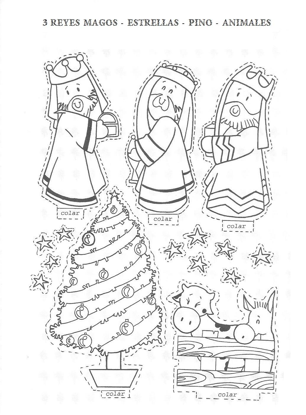 Te cuento un cuento nacimiento para colorear y recortar for Adornos navidenos para colorear y recortar