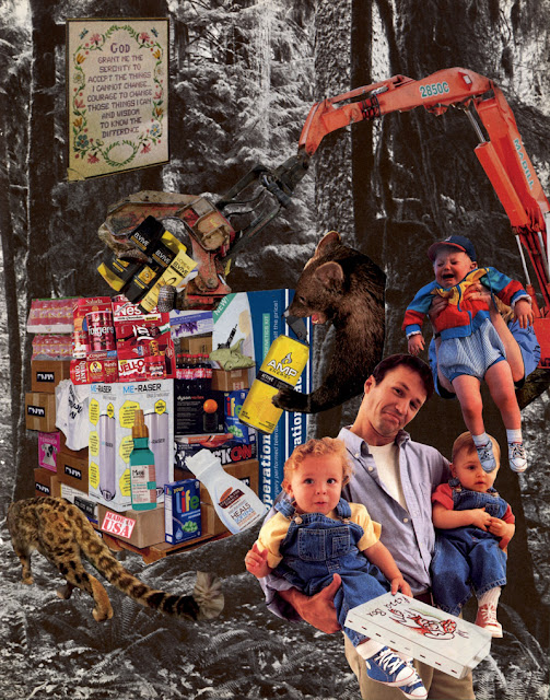 Climate change collage in Anthropocene series