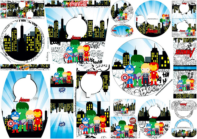 Los Vengadores Chibi: Etiquetas para Candy Buffet para Imprimir Gratis.