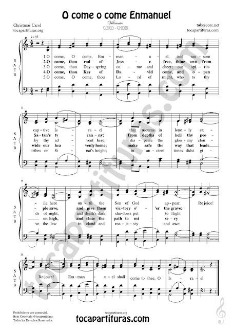 Partitura JPG gratis de O come o come Enmanuel Coro a cuatro voces SATB letra en inglés Choral SATB Sheet Music for 4 voice (soprano, alto, tenor, baritone)
