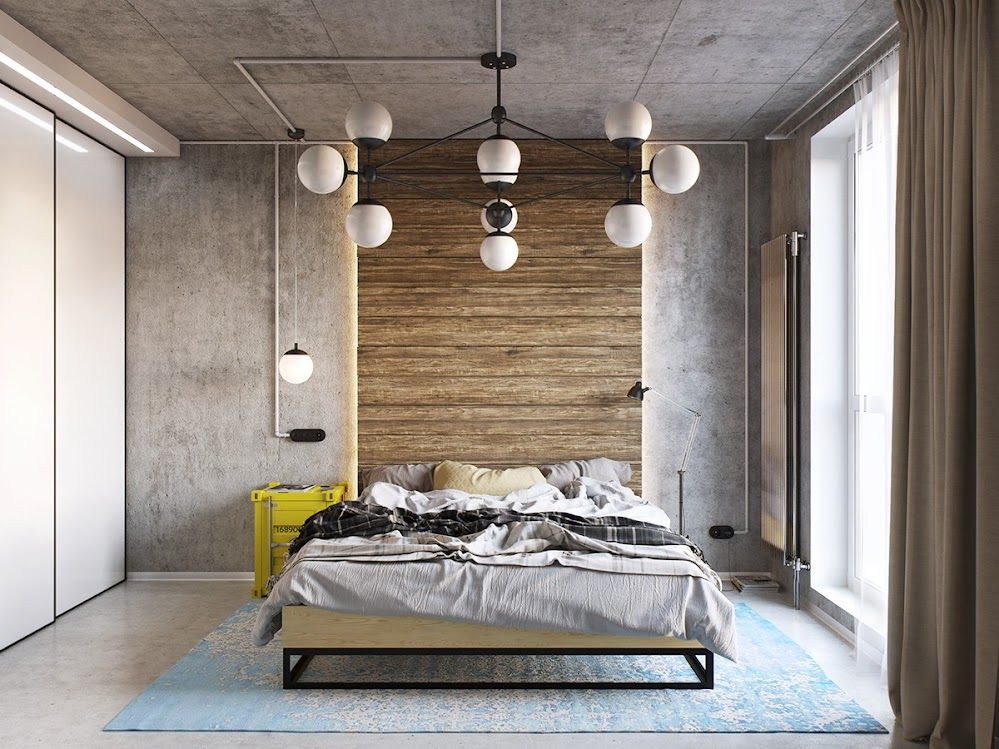 yellow-and-blue-industrial-bedroom
