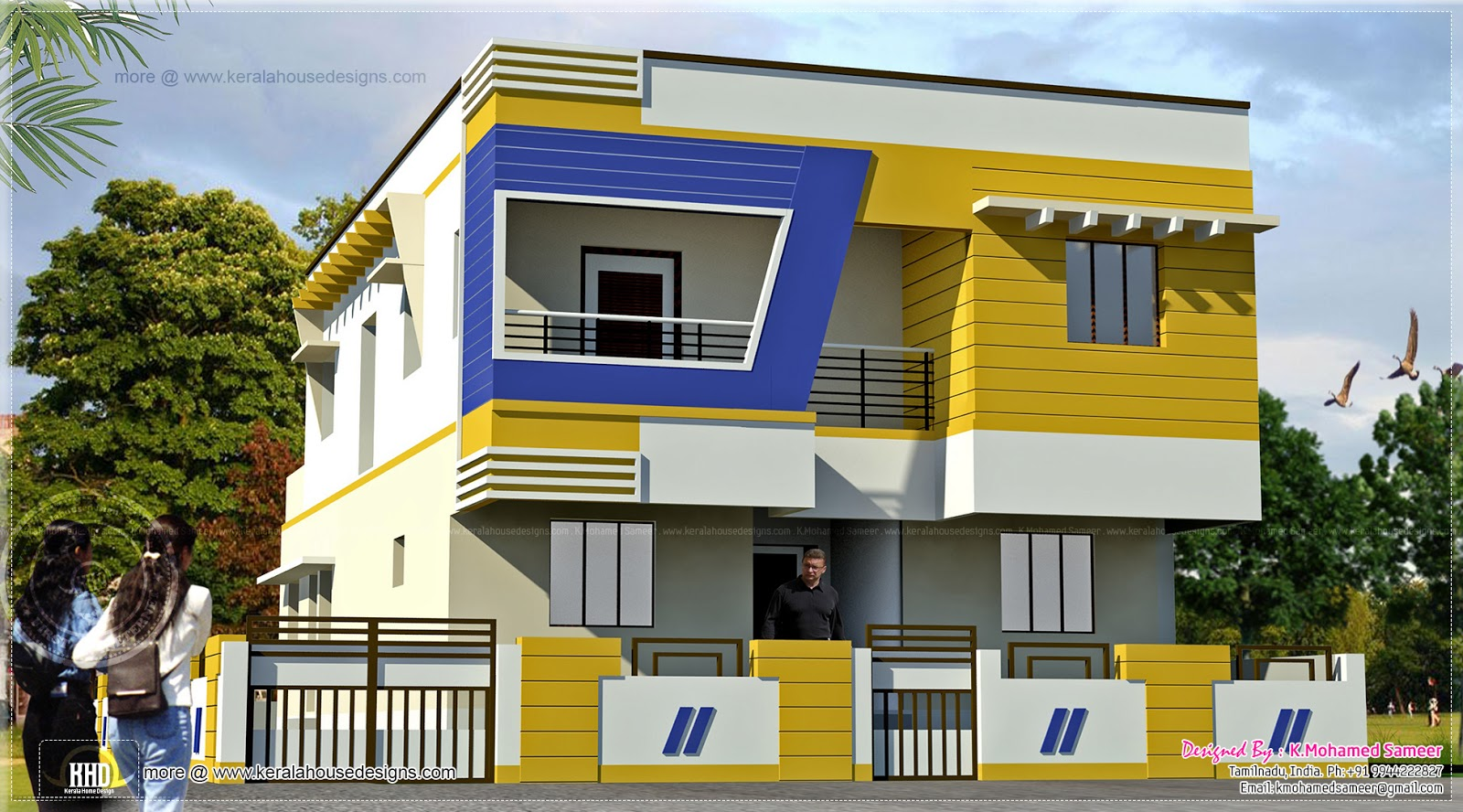 Modern tamilnadu style house design kerala home design for Single floor house designs tamilnadu