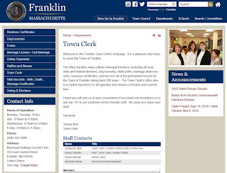 new Town of Franklin - Town Clerk page