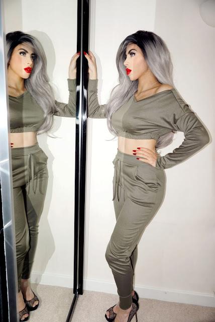Femme Luxe Khaki Crop Loungewear Set in model Deanna