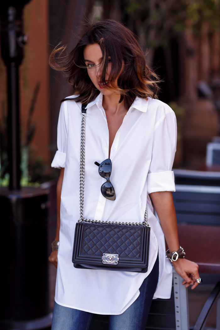 CHANEL Boy flap bag in perforated leather