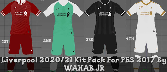 Liverpool 2021 Kits Pack For PES 2017 By WAHAB JR