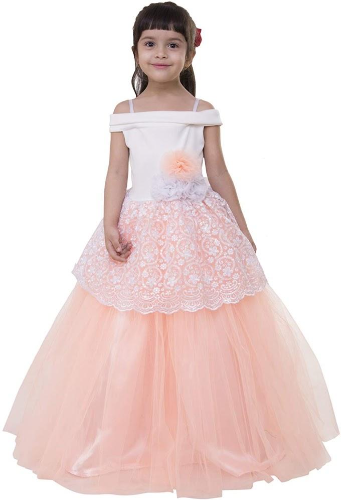 Samsara Couture Girl's Embroided Sleeveless Ball Gown Dress (Peach Lycra,Satin,Net)
