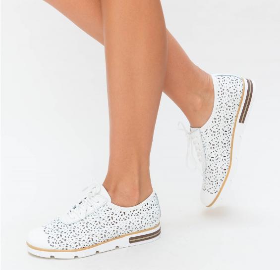 Pantofi Casual dama piele naturala Albi la moda foarte ieftini si frumosi