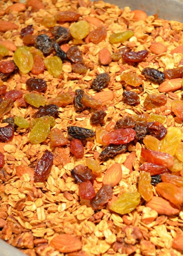 Cool Healthy Granola recipe and stir in raisins.